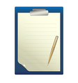 Pen on a white sheet of paper vector image