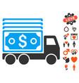 cash lorry icon with valentine bonus vector image