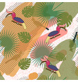 tropic exotic multicolor pattern with birdsand vector image