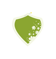 shield flower frame with pin vector image vector image