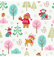Cute Christmas forest pattern vector image