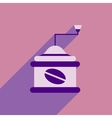 flat icon with long shadow coffee mill vector image