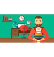 Man holding pile of books vector image vector image