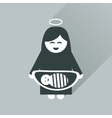 Flat icon with long shadow Virgin Mary and Jesus vector image
