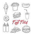 Set of various food fastfood vector image