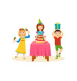 children having fun in a birthday party vector image