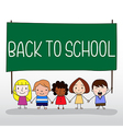 Children holding back to school board vector image