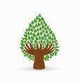 green human hand tree concept vector image