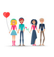 happy couples in love pairs of boys girls lovers vector image