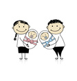 Happy parents with newborn twins vector image