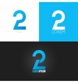 number two 2 logo design icon set background vector image