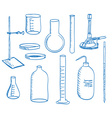 Science laboratory equipment - doodle style vector image