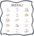 Set of flat design icons for restaurant food and vector image