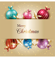 Sparkling Colorful Christmas Ball on Gold Color vector image