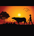 sunset landscape and country life with a man lead vector image