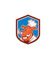 Wild Pig Boar Chef Cook Head Shield Cartoon vector image