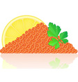 red caviar with lemon vector image vector image