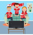 Happy Family Watching Football Together on TV vector image