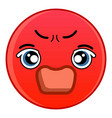 angry red emoticon icon cartoon style vector image