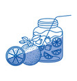 Blue shading silhouette of bottle with refreshing vector image