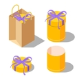 Opened and closed present gift cylinder boxes vector image