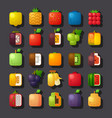 square shaped fruit icon set vector image