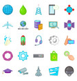 technology icons set cartoon style vector image