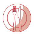 fork and knife with dish cutlery vector image vector image