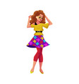 girl in 1980s style clothes dancing at retro disco vector image