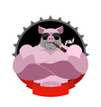 Strong pig in glasses and with a cigar Logo for vector image