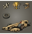 F1 Car sport set symbols vector image