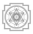 monocrome outline metatron cube yantra vector image