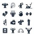 Bodybuilding Black Icon Set vector image