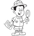Cartoon African boy explorer vector image