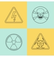 Flat thin line warning signs symbols vector image