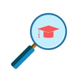 Magnifying glass with graduation cap vector image