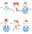 Snowmen set vector image