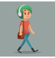 Girl cute Hipster character Funny cartoon vector image