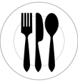 Plate with fork knife and spoon vector image
