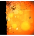 Autumn orange background with spiders and web vector image