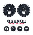 coffee glass sign icon hot coffee button vector image