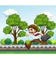 A man running hurriedly with a suitcase vector image vector image