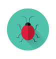 Red bug icon over green vector image