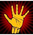 Hand print danger retro yellow art background vector image
