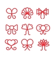 Bows linear icons set vector image vector image