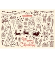 Merry Christmas Doodle set of characters and vector image