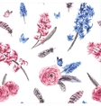 Vintage spring seamless pattern with blooming vector image