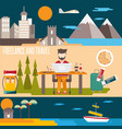 freelance and travel horizontal flat design vector image