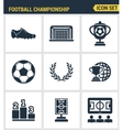 Icons set premium quality of football championship vector image