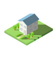 isometric of house on the grass with garden vector image
